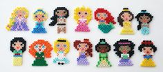 Set of 14 Disney Princess / Heroines Fridge Magnets or Christmas Ornaments