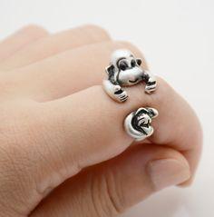 Affen Ring ✮ größenverstellbar ✮ silberfarben