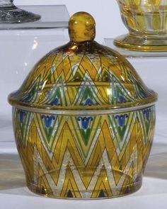Deckeldose Fachschule Haida Oertel Glass Bowl
