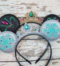 Elsa Minnie Ears,Elsa Minnie Mouse Headband,Anna Minnie Ears,Princess Minnie Ears ,Frozen theme Minnie mouse headband,Elsa Mickey Ears