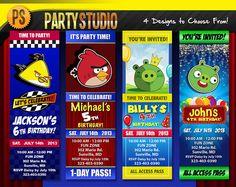 Cute custom birthday invitations for kids!!!  Angry Birds Birthday Party Ticket (Customizable Printable Invitations)