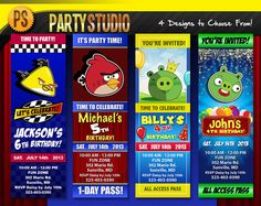 Cute custom birthday invitations for kids!!!  Angry Birds Birthday Party Ticket (Customizable Printable Invitations)