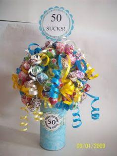 50 sucks centerpiece with ribbon