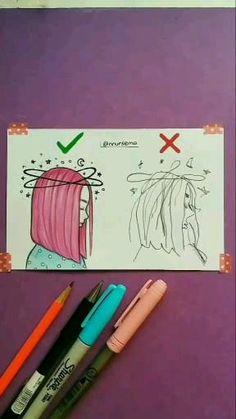 Girl Drawing Sketches, Art Drawings Sketches Simple, Pencil Art Drawings, Drawing Art, Space Drawings, Pencil Sketches Easy, Girl Drawing Easy, Skull Drawings, Mini Drawings