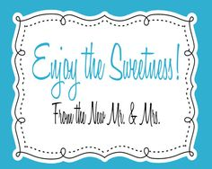INSTANT DOWNLOAD Printable Wedding Candy Bar by TangerinePaperie, $6.00