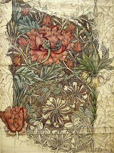 Something about this just reeeealy grabs me.  I almost see it as a tattoo.  Or fabric for furniture.  Or a whole painting.  It's just so beautiful to me.  William Morris
