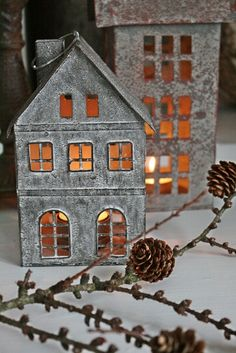 sweet little houses Christmas Love, All Things Christmas, Winter Christmas, Vintage Christmas, Christmas Crafts, Christmas Decorations, Christmas Ornaments, Holiday Decor, Xmas