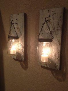Rustic barn wood mason jar candle holder