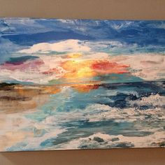 """Home beach"" original Laura Adams Wilson. Abstract art. Beach scenes. Textured painting. Layered painting. Beach scenes. Florida art."