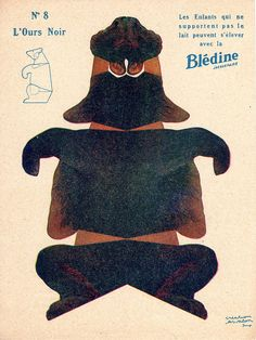 "bledine ours noir by pilllpat (agence eureka), via Flickr. Advertising folding-cutting offered by ""The Blédine"""