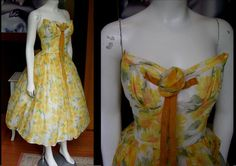 Stunning Vintage 1950s Lorrie Deb Strapless Rockabilly Yellow Floral Chiffon Party Dress Rosette Velvet Bow Cocktail Mad Men Lucy Dress   by WestCoastVintageRSL, $168.00