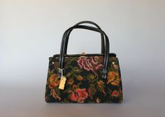 vintage tapestry bag / 1960s black floral bag / by HolliePoint, $38.00
