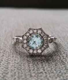 "Halo Aquamarine and Diamond Ring Gemstone Engagement Ring Antique Flower Estate Octagon Blue Art Deco 14K White Gold Vintage ""The Elsa"""