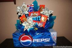 Look at the graduation gift I made: Money and candy/pop bouquet