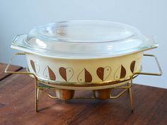 Pyrex 1959 Golden Hearts Deluxe Cinderella Casserole Dish with