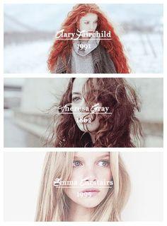 Clary Fray | Tessa Gray | Emma Carstairs | TID TMI TDA Shadowhunters