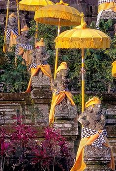 Statues at Mother Temple Adorned in Yellow Indonesia Canvas Art - John & Lisa Merrill DanitaDelimont x Vietnam, Jakarta, Beautiful Islands, Beautiful Places, Places To Travel, Places To Go, Burma, Taj Mahal, Voyage Bali