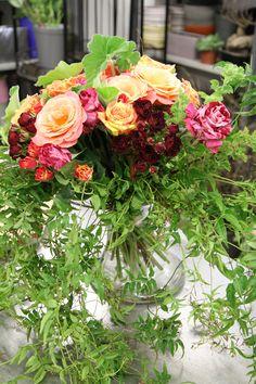 Atelier floral - Aquarelle.com Le Bouquet de roses du Jardin