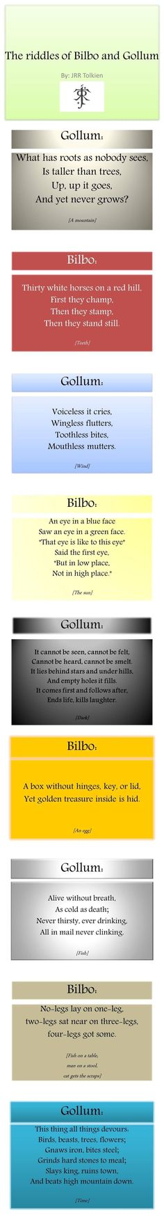 The Hobbit - Tolkien was so creative, I'd never heard any of these riddles in my life before i read them in the book. Legolas, Thranduil, Tauriel, Kili, Gandalf, Into The West, Into The Fire, Jrr Tolkien, Tolkien Quotes