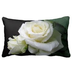 White Rose Raindrops Lumbar Pillow