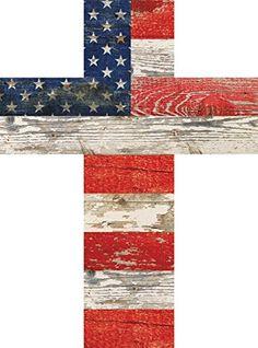 American Flag Patriotic Red White and Blue Crackled Desig...…