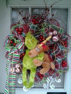 Green Red I Love Ya Max Grinch Christmas Door Deco Mesh Wreath New | eBay