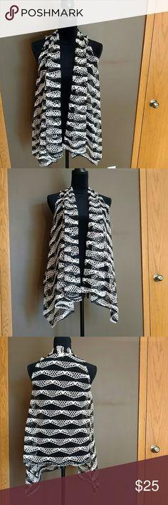 🏷 NWOT. Black & Cream Drape Vest Excellent Condition. New. No tags. Net/See-through. 🍁   S#8179 Anna kaci Jackets & Coats Vests