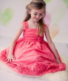 Coral Lace Rosette Dress