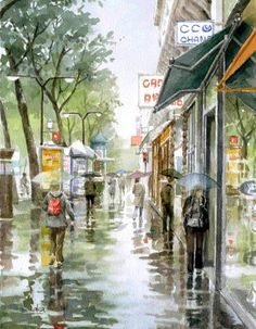 © Takashi Akasaka Art Aquarelle, Watercolor Landscape Paintings, Watercolor Sketch, Landscape Art, Crayons Pastel, Watercolor Architecture, Rain Art, Impressionism Art, Urban Sketching