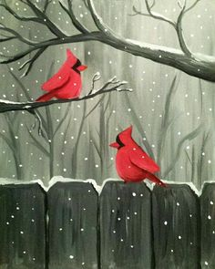 Paint Nite: Discover a new night out and paint and sip wine with friends Christmas Paintings On Canvas, Christmas Canvas, Christmas Art, Xmas, Whimsical Christmas, Winter Painting, Winter Art, Winter Theme, Wine And Canvas