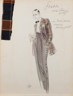 Theadora Van Runkle costume sketch for John Cazale as Fredo Corleone in The Godfather Part II, 1974 Fredo Corleone, Mode Costume, Art Costume, Theatre Costumes, Ballet Costumes, Fashion Sketchbook, Fashion Sketches, Costume Design Sketch, Colleen Atwood