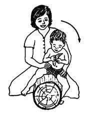Movw your hands down to child's hips and thighs for him to depend less on your support.