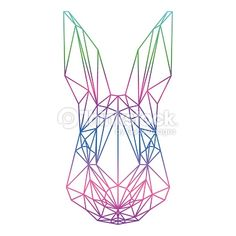 Vector Art : polygonal abstract rabbit silhouette drawn in one continuous line