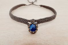 Macrame Choker / Macrame Necklace with Lapis by CTheSoulOfMoon