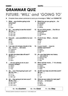"""Will"" and ""be going to"" Grammar Quiz"