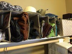 A hanging canvas closet shelf turned sideways to compartmentalize purses on shelf. Done by The Organizing Lady! Home Organization, Organizing, Hanging Canvas, Closet Shelves, Closet Ideas, Closets, Shoe Rack, Shelf, Purses
