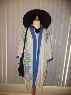 SOLD Vtg Boho Hippie Coachella White 80's Kimono with Water Color Florals OS by casadelagitana on Etsy