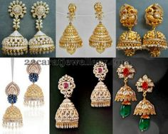 Jewellery Designs: Diamond Gemstone and Gold Jhumkas Sets