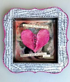 Excited to share the latest addition to my #etsy shop: Pink Heart Wall Art, Sia, Shadow Box, Mixed Media, Lyric, Unique Decor, Music Inspired,  Elastic Heart, Song, Clay, Paint