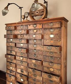 rustic, antique library dresser...for a craft room (great storage for rubber stamps, ribbone, etc...)