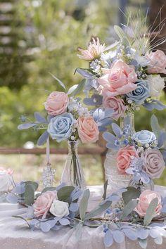Blue And Blush Wedding, Pink Wedding Theme, Blush Pink Weddings, Fall Wedding Colors, Wedding Color Schemes, Wedding Flowers, Blue Weddings, Burgundy Wedding, Pastel Wedding Colors