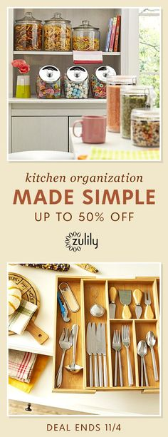 Sign up to shop kitchen organization up to 50% off. We understand that a well-stocked kitchen needs organization. Keep the heart of your home perfectly tidy and ready for anything with these space-saving must-haves. Deal ends 11/4.