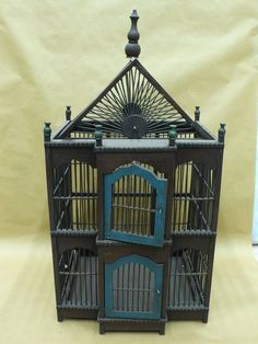 Antique Dark Wood Bird Cage, 15.5 x 14 x 30.5 in