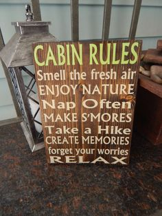 Cabin decor, Cabin rules sign, outdoor decor, Wooden painted sign quote