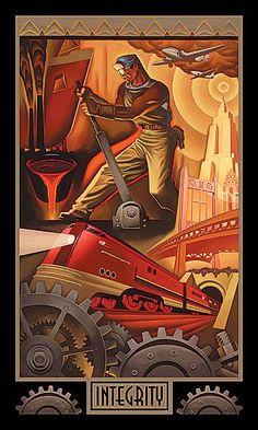 Integrity Art Deco Paintings, Art Deco Artwork, Art Deco Artists, Wpa Posters, Train Posters, Art Deco Posters, Art Nouveau, Ayn Rand, Diesel Punk