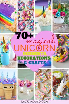 Looking for colorful DIY unicorn crafts desserts and decorations to make the unicorn lover in your life? Here are OVER 70 magical things to make from cake to slime to treats and more. Check them out and don't forget to pin for later! Unicorn Themed Birthday Party, Birthday Crafts, Birthday Party Decorations, Birthday Ideas, Birthday Nails, Craft Party, Diy Party, Birthday Wishes, Diy Halloween