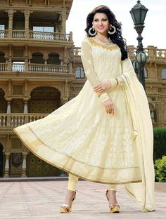 Cream Fancy Embroidered Anarkali Suit.