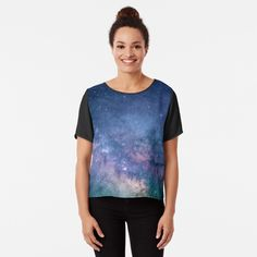 'Interstellar Nebula Universe Blue Galaxy Outer Space Cosmology' Chiffon Top by Designs Tie Dye, Tie And Dye, Galaxy Print, Purple Teal, Magenta, Chiffon Tops, Fitness Models, Mens Tops, How To Wear