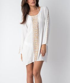 Look at this #zulilyfind! Off-White Embroidered Long-Sleeve Cover-Up Dress #zulilyfinds