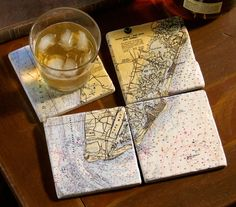 nautical map coasters